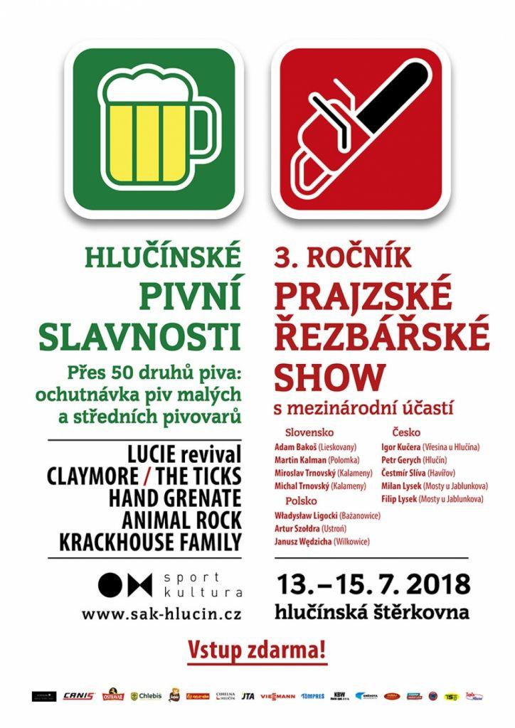 plakát k akci PIVNÍ SLAVNOSTI a PRAJZSKÁ ŘEZBÁŘSKÁ SHOW