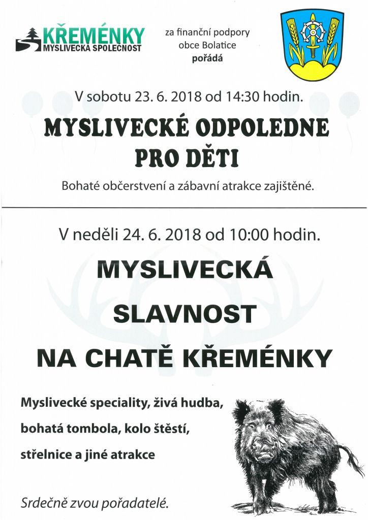 plakát k akci MYSLIVECKÁ SLAVNOST