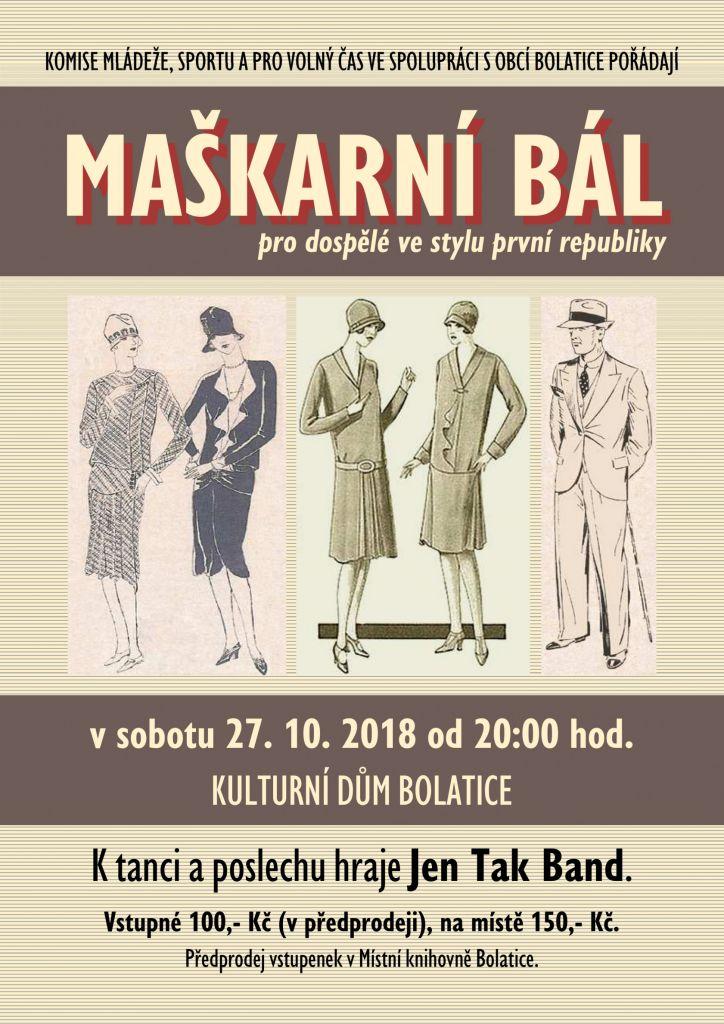 plakát k akci MAŠKARNÍ BÁL