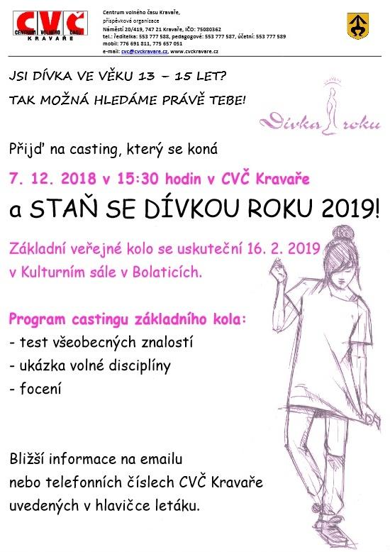 plakát k akci CASTING DO ZÁKLADNÍHO KOLA SOUTĚŽE DÍVKA ROKU 2019