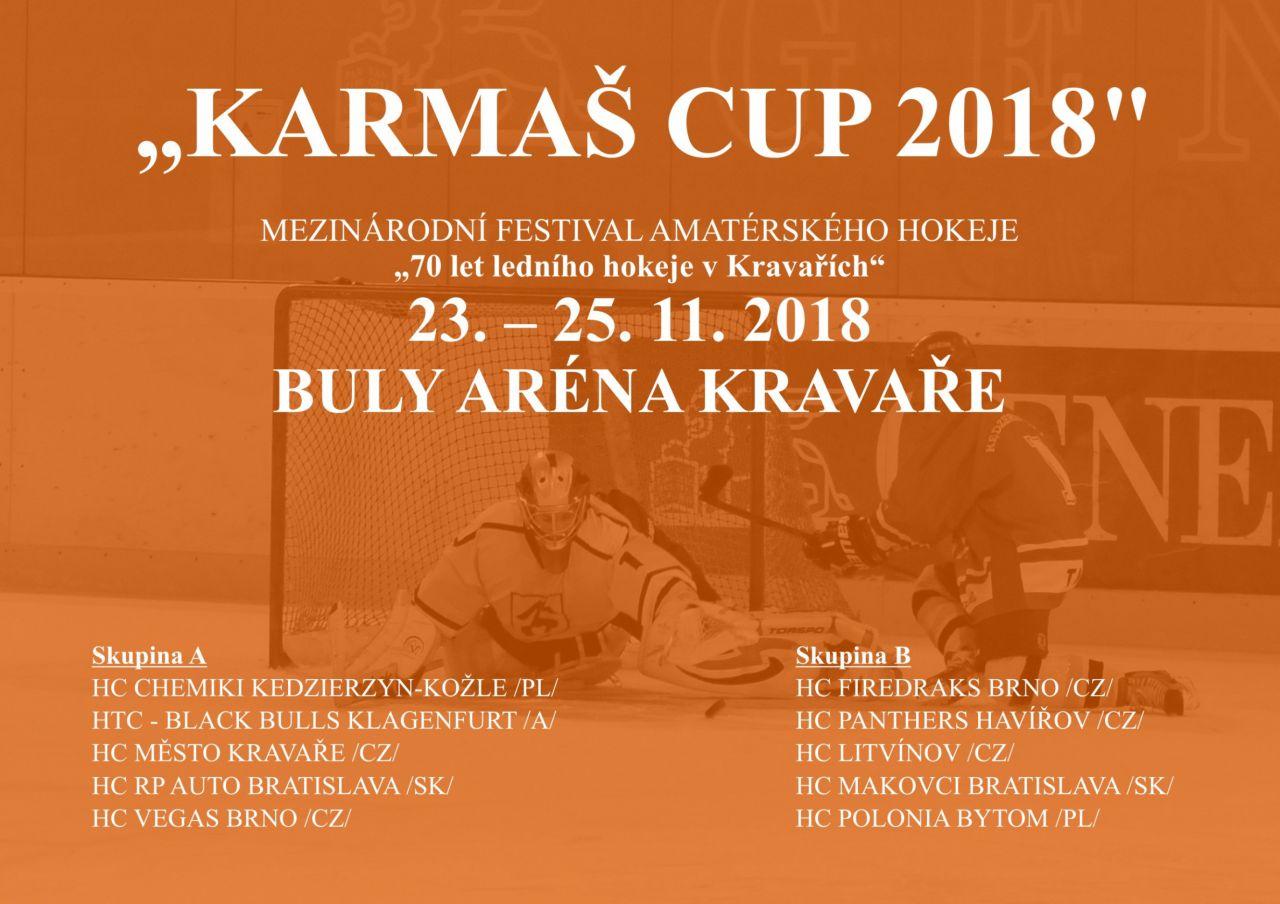 """PLAKÁT K AKCI """"KARMAŠ CUP 2018"""" /mezinárodní festival amatérského hokeje/"""