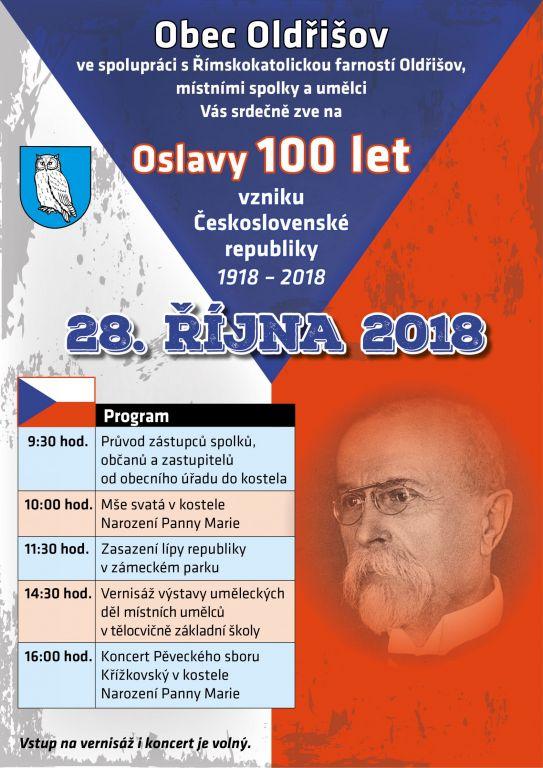 plakát k akci OSLAVY 100 LET VZNIKU ČESKOSLOVENSKÉ REPUBLIKY