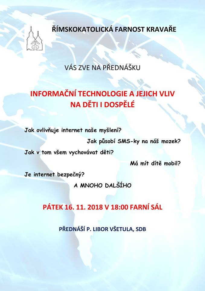 pozvánka na přednášku INFORMAČNÍ TECHNOLOGIE A JEJICH VLIV NA DĚTI A DOSPĚLÉ