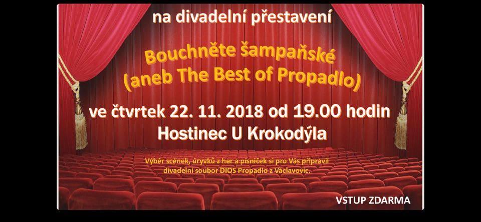 pozvánka na divadelní představení BOUCHNĚTE ŠAMPAŇSKÉ