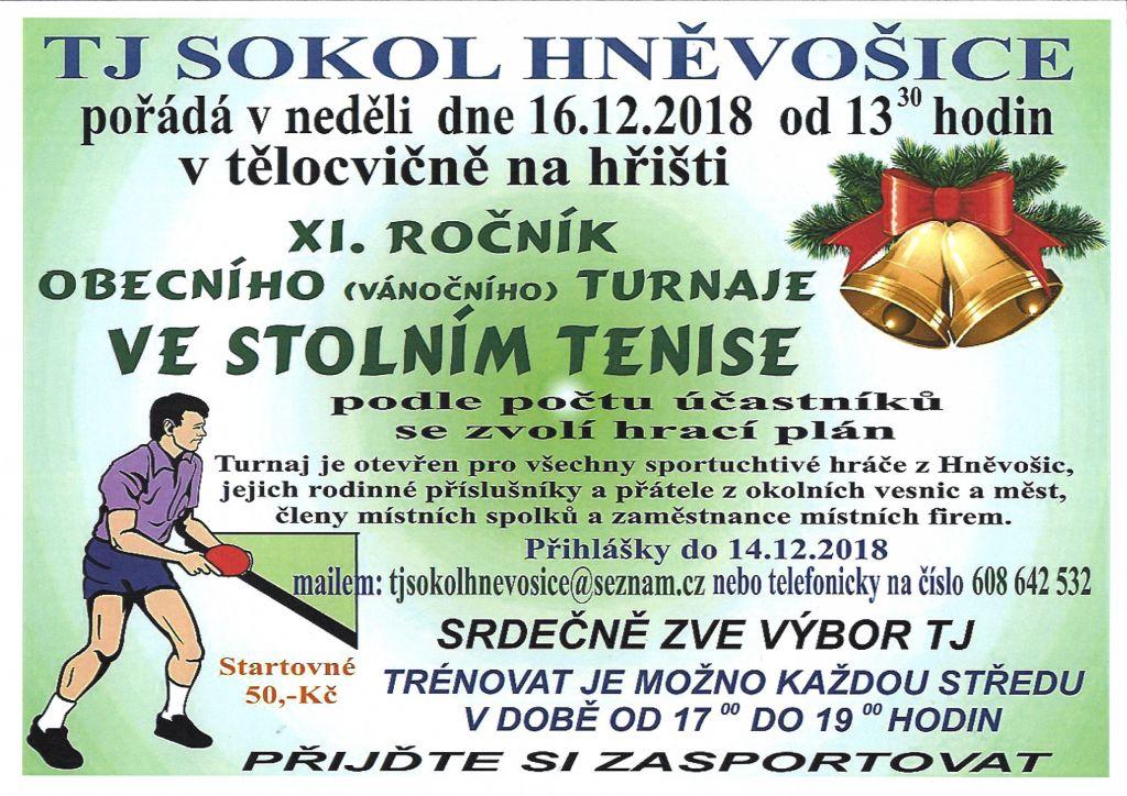 plakát k akci VÁNOČNÍ TURNAJ VE STOLNÍM TENISE
