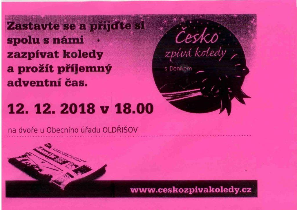 plakát k akci ČESKO ZPÍVÁ KOLEDY