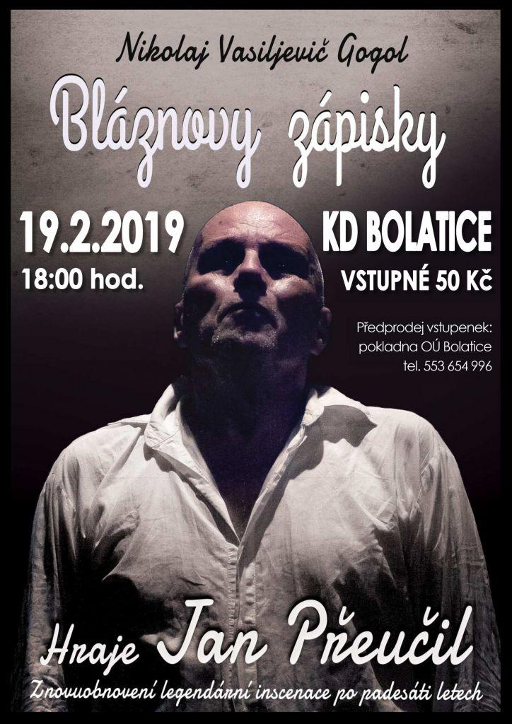 pozvánka na divadelní představení BLÁZNOVY ZÁPISKY