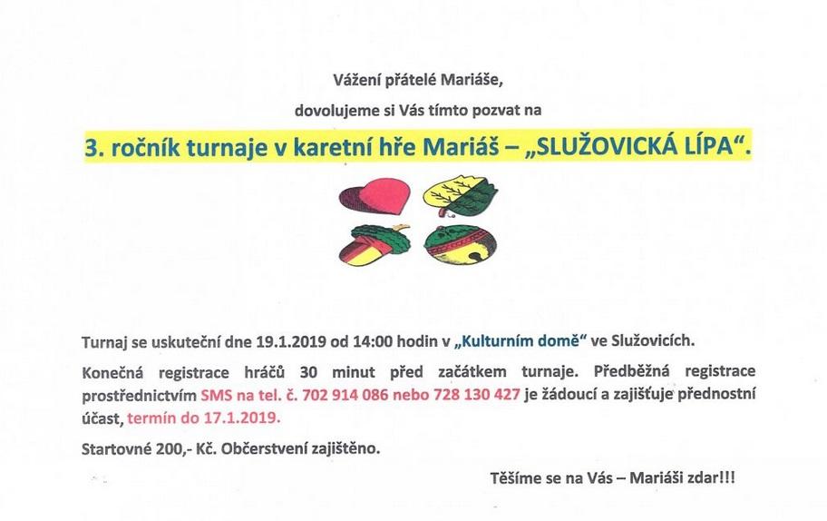 pozvánka na akci 3. ročník turnaje v karetní hře Mariáš /SLUŽOVICKÁ LÍPA/