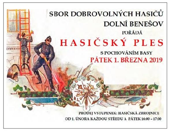 plakát k akci HASIČSKÝ PLES S POCHOVÁNÍM BASY