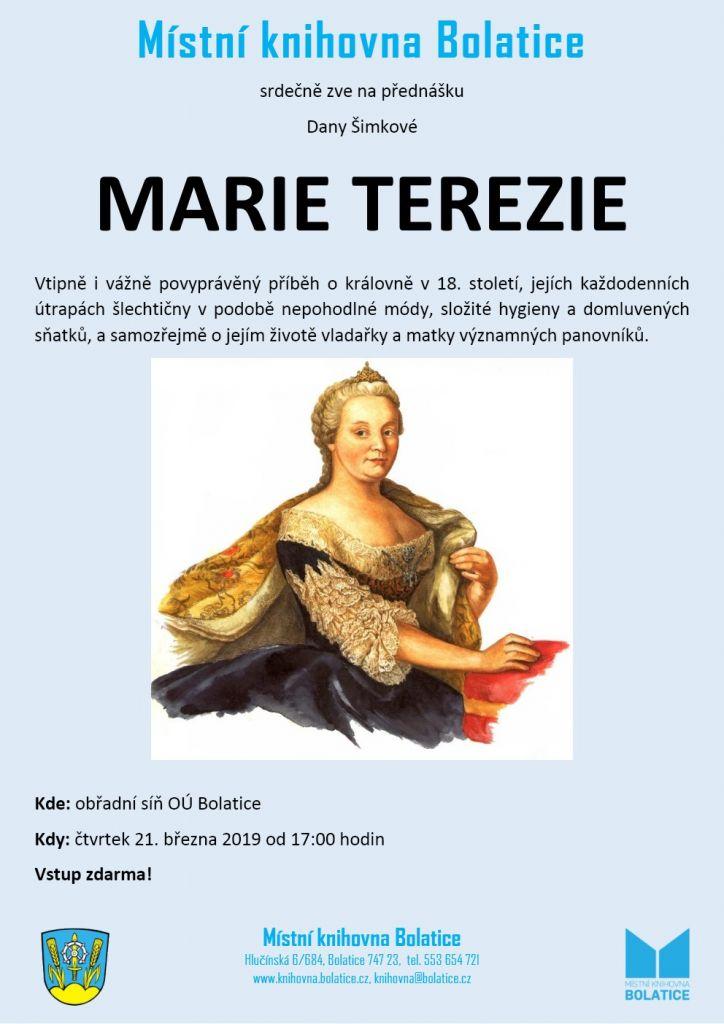 plakát k přednášce MARIE TEREZIE