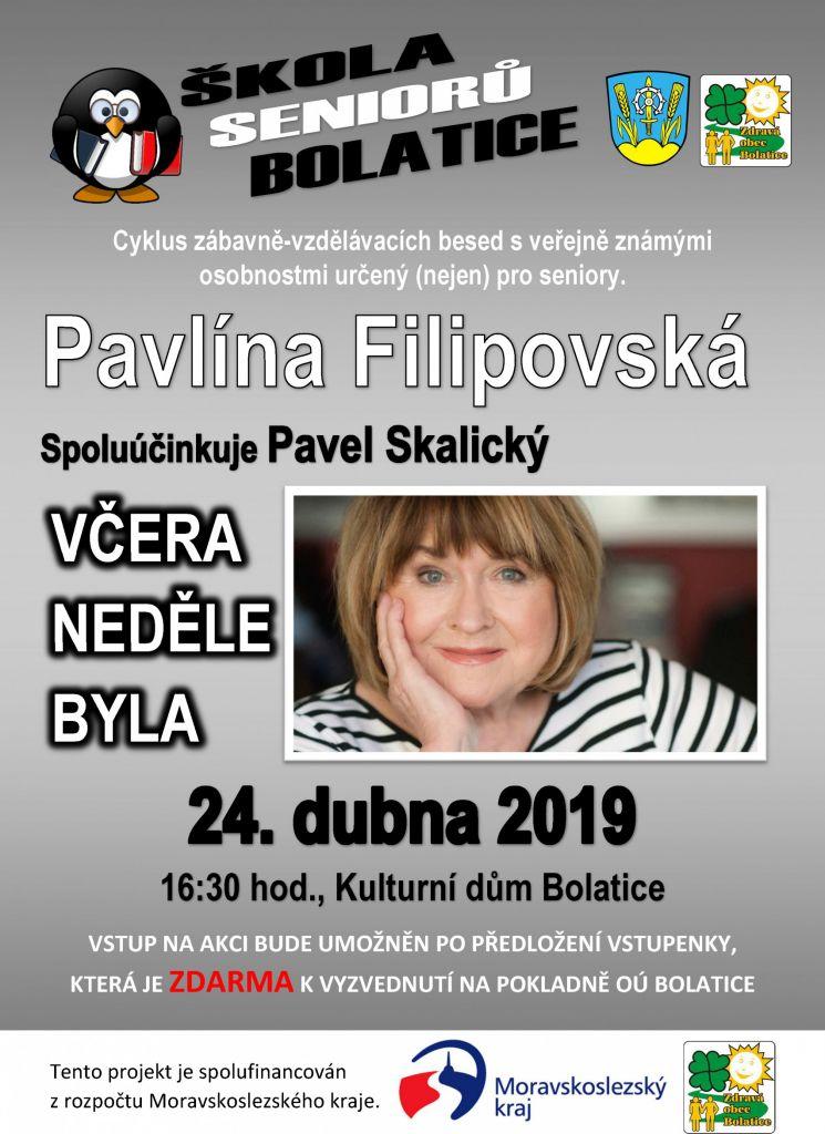 plakát k akci PAVLÍNA FILIPOVSKÁ / VČERA NEDĚLE BYLA
