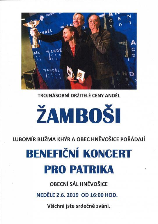 plakát k akci BENEFIČNÍ KONCERT PRO PATRIKA