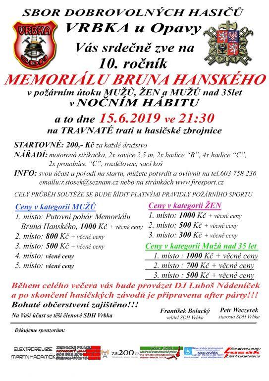 plakát kakci MEMORIÁL BRUNA HANSKÉHO
