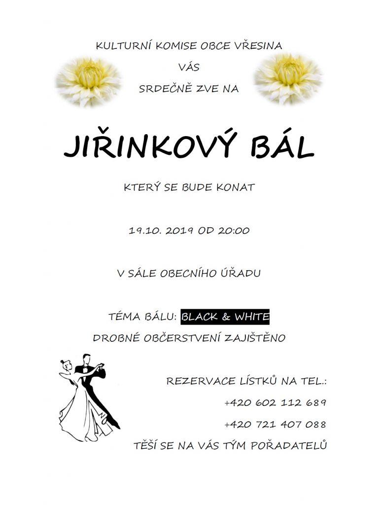 plakát kakci JIŘINKOVÝ BÁL