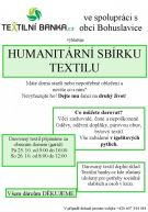 plakát k akci HUMANITÁRNÍ SBÍRKA TEXTILU